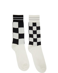 White and Black Check Socks