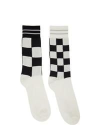 Marni White Mismatched Check Socks