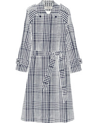 Checked linen and cotton blend trench coat medium 426506