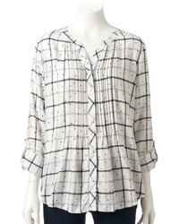croft & barrow Petite Plaid Roll Tab Tunic