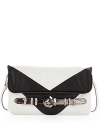 Athena chevron clutch whiteblack medium 88096
