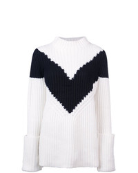 Derek Lam Ribbed Chevron Mockneck Sweater