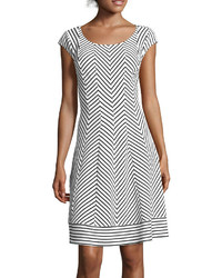 White and Black Chevron Fit and Flare Dress
