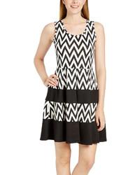 Black White Chevron A Line Dress Plus Too