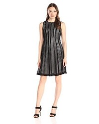 Calvin Klein Fit And Flare Mesh Stripe Dress