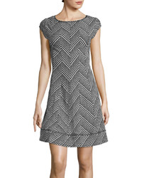Robbie Bee Cap Sleeve Chevron Dot Fit And Flare Dress