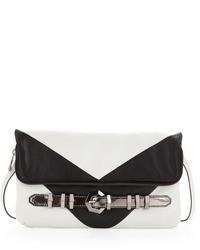 Athena chevron clutch whiteblack medium 110405