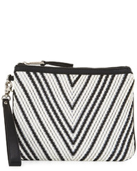 French Connection Charlie Woven Wristlet Bag Blackwhite