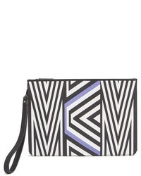 MCM Xtobias Rehberger Geometric Coated Canvas Pouch Purple