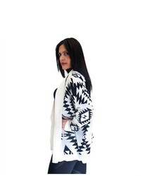 Soho Girl Aztec Print Cardigan White