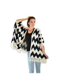 Soho Girl Fringe Knit Cardigan Whiteblack