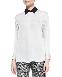 Long sleeve silk blouse with contrast collar medium 208937