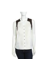White and Black Chiffon Sleeveless Button Down Shirt