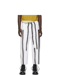 Eckhaus Latta White And Black Spray Baggy Jeans