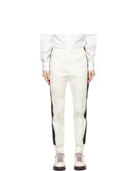 Alexander McQueen White Cotton Stripe Trousers