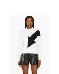 McQ Alexander McQueen White And Black Colorblocked Sweater