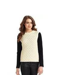 Yigal Azrouel Moss Knit Texture Block Sweater Ivory Black