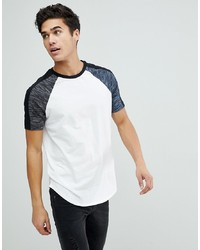 d2f4a148 ASOS DESIGN Asos Longline T Shirt With Curved Hem With Interest Fabric In  White