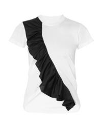 MARQUES ALMEIDA Asymmetric Ruffled Two Tone Cotton Jersey T Shirt