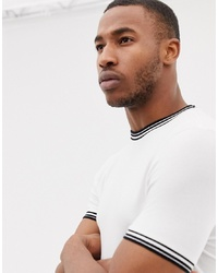 ASOS DESIGN Muscle Fit T Shirt With Tipping In White