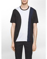 Calvin Klein Platinum Slim Fit Geometric Mesh Inset Tri Color T Shirt