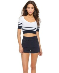 RED Valentino Ribbed V Neck Crop Top