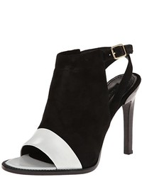 White and Black Cutout Suede Ankle Boots
