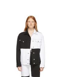 MSGM White And Black Denim Colorblocked Jacket