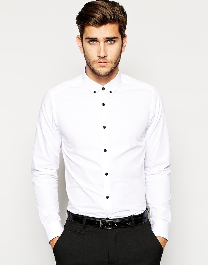 Asos Brand Smart Shirt In Long Sleeve With Contrast Buttons And ...