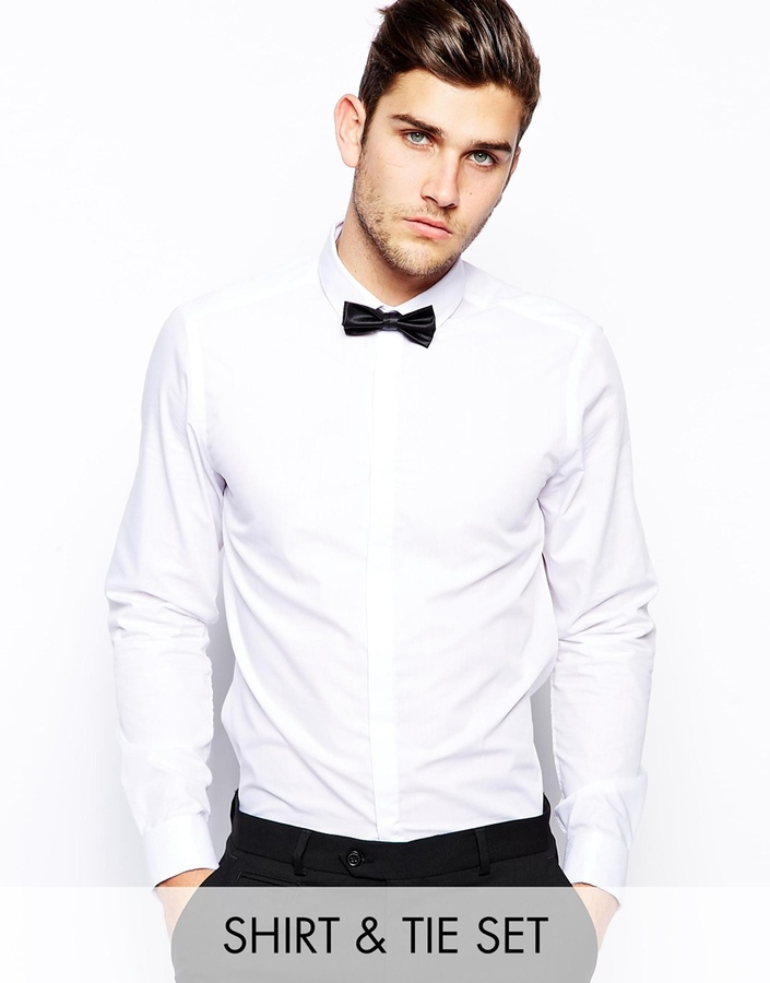 99325c541f708 ... Asos Brand Smart Shirt In Long Sleeve With Contrast Textured Collar And Bow  Tie Save 21 ...