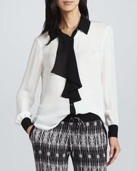 Haute hippie contrast trim silk blouse medium 774167