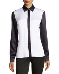 Michael Kors Michl Kors Satin Charmeuse Colorblock Shirt White