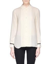 Nobrand Pleat Placket Contrast Cuff Crepe Shirt