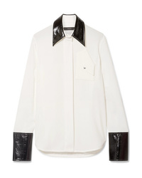 Ellery Thesis Oversized Faux Patent Med Crepe Shirt