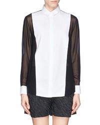 Nobrand Tuxedo Oxford Silk Chiffon Shirt