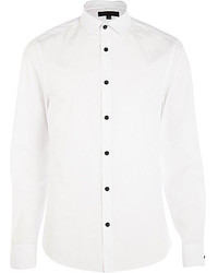 River Island White Contrast Button Poplin Shirt