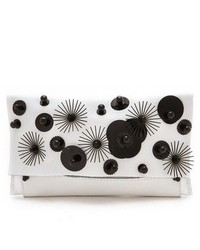 White and Black Embellished Clutch