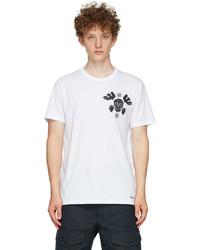 Alexander McQueen White Embroidered Papercut Skull T Shirt