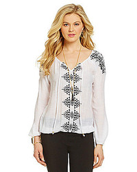 White and Black Embroidered Peasant Blouse