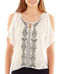 jcpenney By And By Byby 34 Sleeve Embroidered Cold Shoulder Peasant Top