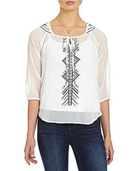 Soulmates Embroidered Tribal Peasant Top