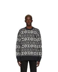 White and Black Fair Isle Crew-neck Sweater