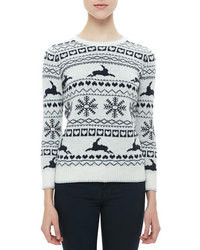 White and Black Fair Isle Crew-neck Sweater