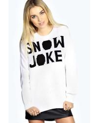 Boohoo Jenny Snow Joke Christmas Jumper