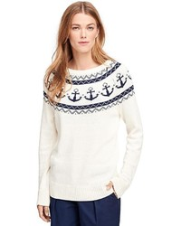 Brooks brothers cotton fair isle sweater medium 375396