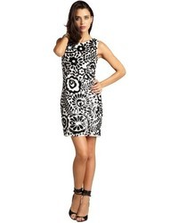 Aidan Mattox White And Black Silk Sequined Floral Pattern Sleeveless Party Dress
