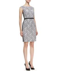 Cap sleeve floral sheath dress blackwhite medium 23140