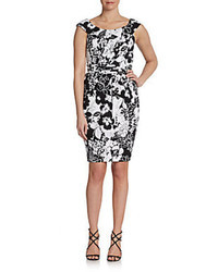 Carmen Marc Valvo Floral Print Tulip Dress