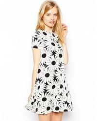 Asos Swing Dress In Daisy Mono Print Blackwhite