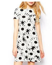ChicNova Daisy Print Short Sleeves High Waist Dress